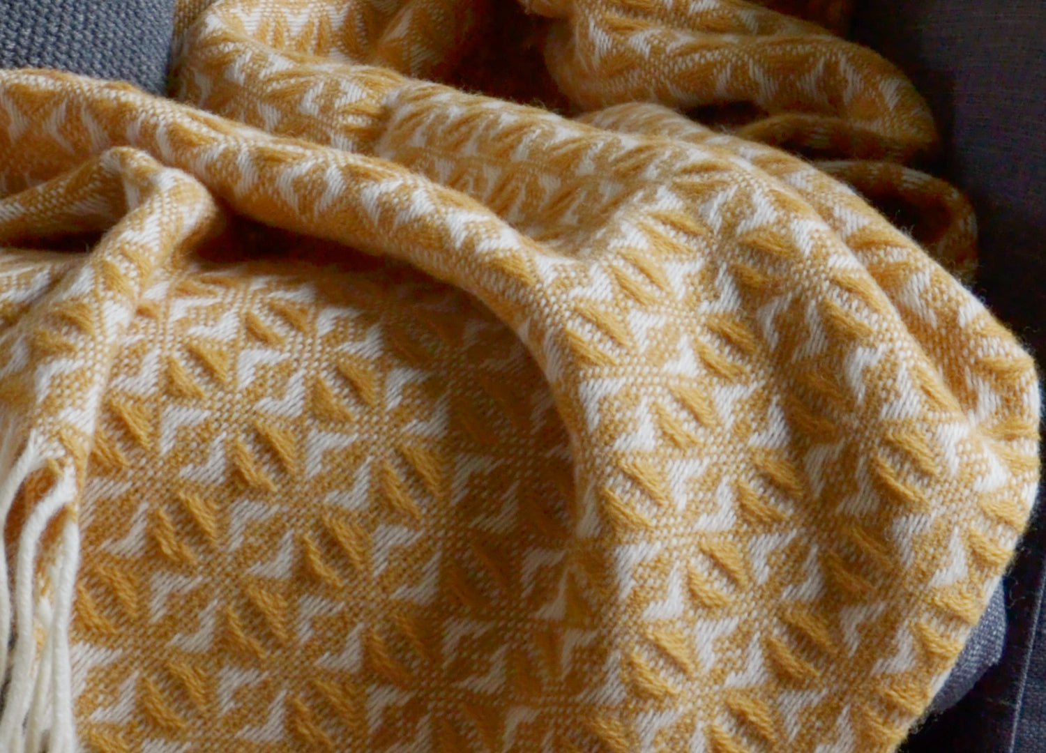 54a7f638a7 Mustard Yellow Cobweave Throw - buy at The British Blanket Company