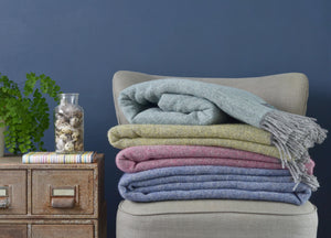 Muted Pink and Grey Throw - The British Blanket Company