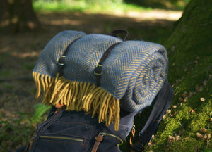 Navy Blue and Mustard Waterproof Picnic Blanket with Straps - buy at The British Blanket Company