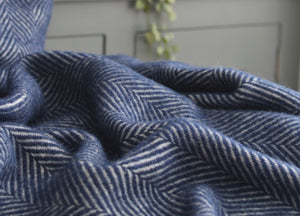 Navy Blue Herringbone Armchair Throw - buy at The British Blanket Company