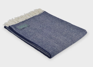 XL Navy Blue Supersoft Merino Herringbone Throw
