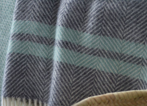 Grey & Ocean Herringbone Stripe Throw - buy at The British Blanket Company