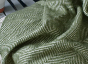 Olive Green Herringbone Armchair Throw - The British Blanket Company