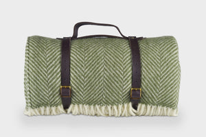 Olive Green  Waterproof Picnic Blanket with Straps - The British Blanket Company
