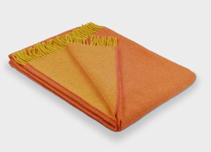 Orange and Mustard Reversible Supersoft Merino Throw - The British Blanket Company