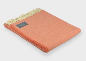 Clementine Orange Supersoft Merino Herringbone Throw - The British Blanket Company