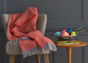 Orange and Fuchsia Edge Herringbone Throw - The British Blanket Company