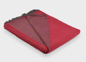 Paradise Red and Grey Reversible Supersoft Merino Throw - The British Blanket Company