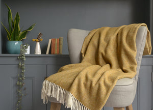 Antique Gold Parquet Merino Lambswool Throw - buy at The British Blanket Company
