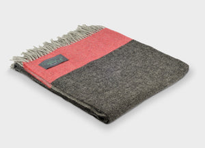 Pewter Grey and Tangerine Stripe Throw - buy at The British Blanket Company