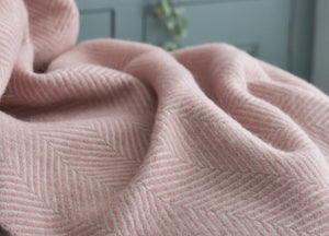 Dusky Pink and Pearl Herringbone Armchair Throw - The British Blanket Company