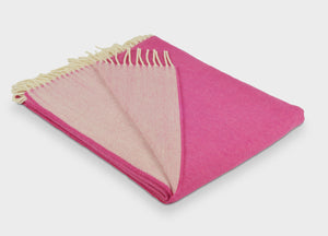 Raspberry and Rose Pink Reversible Supersoft Merino Throw - The British Blanket Company