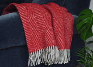 Rich Red and Grey Herringbone Throw - The British Blanket Company