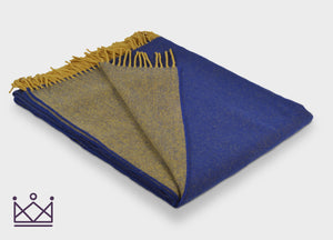 Royal Blue and Mustard Reversible Supersoft Merino Throw - buy at The British Blanket Company