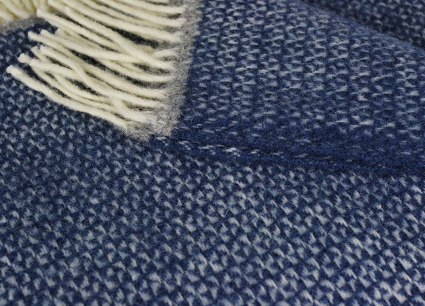 The British Blanket Company Blue And Grey Wool Throw