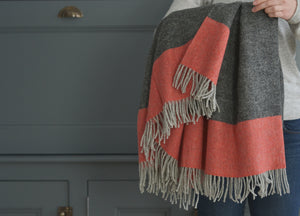 Pewter Grey and Tangerine Stripe Throw
