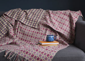 Thistle Purple Geo Merino Lambswool Throw - buy at The British Blanket Company