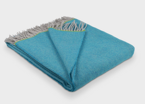 Turquoise and Green Edge Herringbone Throw - buy at The British Blanket Company