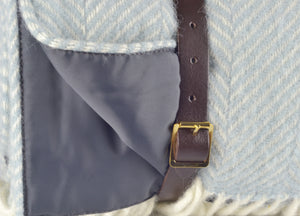 Duck Egg Blue Waterproof Picnic Blanket with Straps - The British Blanket Company