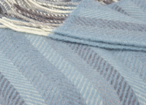 Soft Blue Multistripe Herringbone Throw - buy at The British Blanket Company
