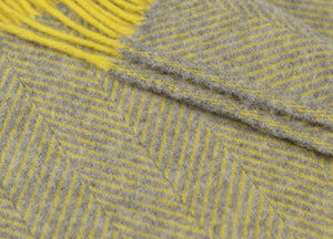Grey and Lemon Yellow Herringbone Throw - buy at The British Blanket Company