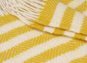 Yellow Lemon Sherbet Stripe Throw - buy at The British Blanket Company