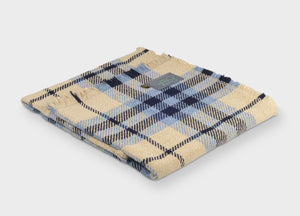 Navy Blue and Cream Recycled Wool Throw - buy at The British Blanket Company