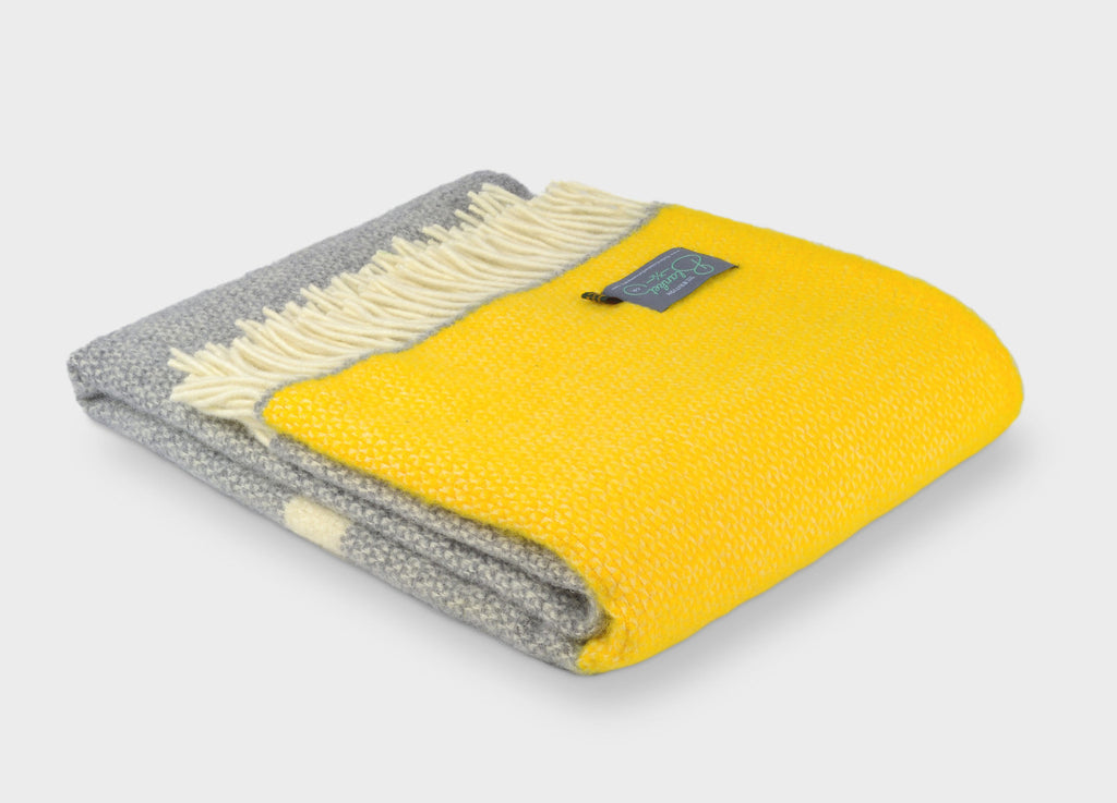The British Blanket Company Yellow And Grey Wool Throw