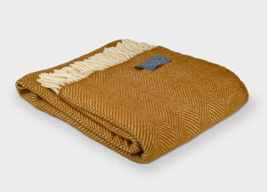 Mustard Yellow Herringbone Throw
