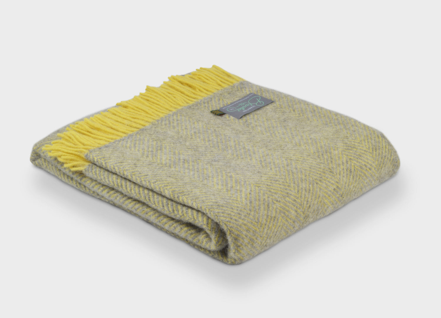 Grey and Lemon Yellow Herringbone Throw - buy at The British Blanket Company 866c4073f
