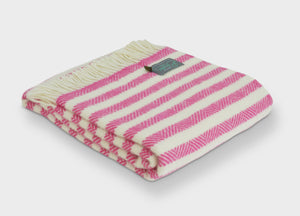 Pink Candy Cane Stripe Throw - buy at The British Blanket Company