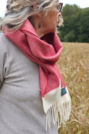 Red Apple Herringbone Lambswool Scarf
