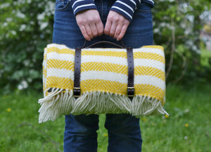 Lemon Yellow Waterproof Picnic Blanket With Straps - buy at The British Blanket Company