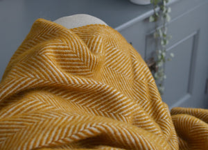 Mustard Yellow Herringbone Armchair Throw - buy at The British Blanket Company