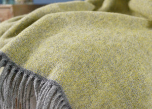 Muted Lemon and Grey Throw - buy at The British Blanket Company