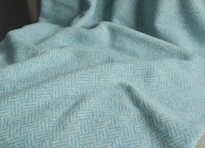 Aqua Blue Parquet Merino Lambswool Throw - buy at The British Blanket Company