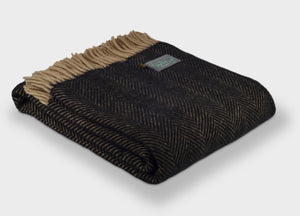 Black Coffee Herringbone Throw - The British Blanket Company