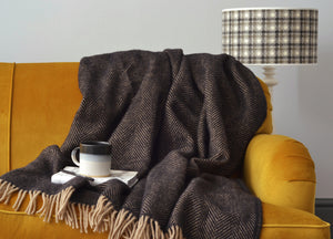 Black Coffee Herringbone Throw - buy at The British Blanket Company