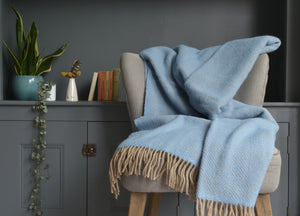 Sea Blue and Beige Herringbone Throw - buy at The British Blanket Company