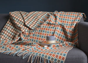 Orange and Turquoise Geo Merino Lambswool Throw - buy at The British Blanket Company