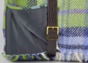 Blue and Green Check Waterproof Picnic Blanket with Straps - buy at The British Blanket Company