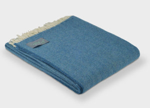 Sky Blue Heritage Herringbone Throw - buy at The British Blanket Company