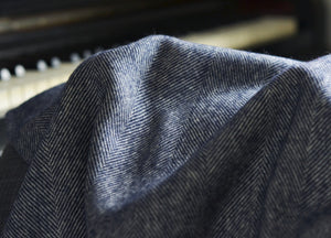 XL Navy Blue Herringbone Supersoft Merino Herringbone Throw - buy at The British Blanket Company