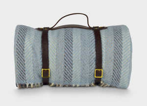 Blue Multistripe Waterproof Picnic Blanket with Straps - buy at The British Blanket Company