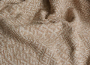Camel Brown Parquet Merino Lambswool Throw - buy at The British Blanket Company