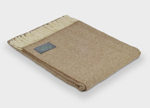 Camel Brown Parquet Merino Lambswool Throw - The British Blanket Company