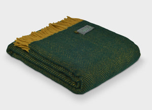 Cedar Green and Mustard Herringbone Throw - buy at The British Blanket Company