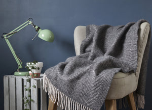 Charcoal and Silver Herringbone Armchair Throw - buy at The British Blanket Company