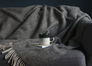 Charcoal and Silver Grey Herringbone Throw - buy at The British Blanket Company