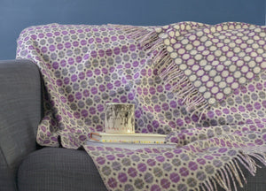 Clover Purple Geo Merino Lambswool Throw - The British Blanket Company